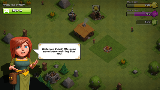 Tutorial startup in Clash of Clans