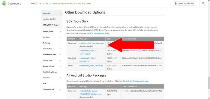 sdk tools download recommended