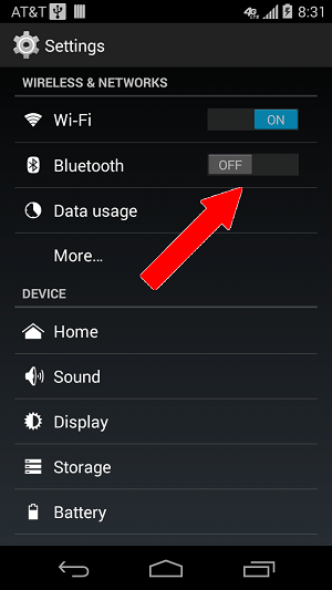 settings bluetooth