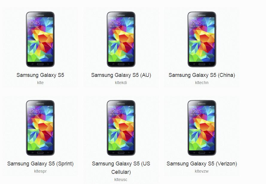 Samsung Galaxy S5 CyanogenMod files