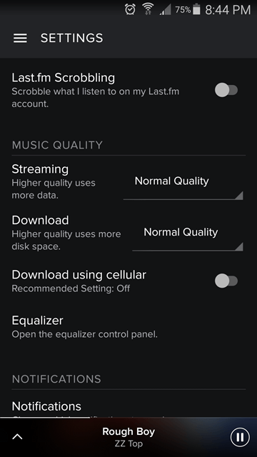 settings - spotify