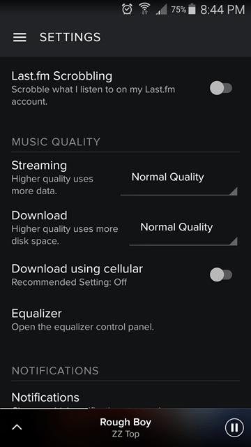 settings - spotify