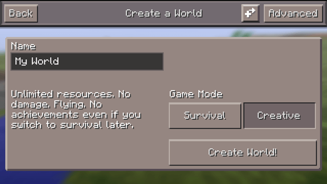 Create a world - Minecraft