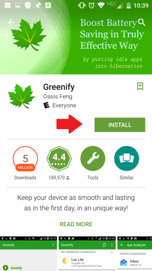Install Greenify to extend battery life of Samsung Galaxy S6