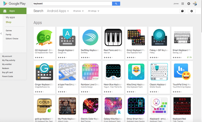 Play Store Keyboards