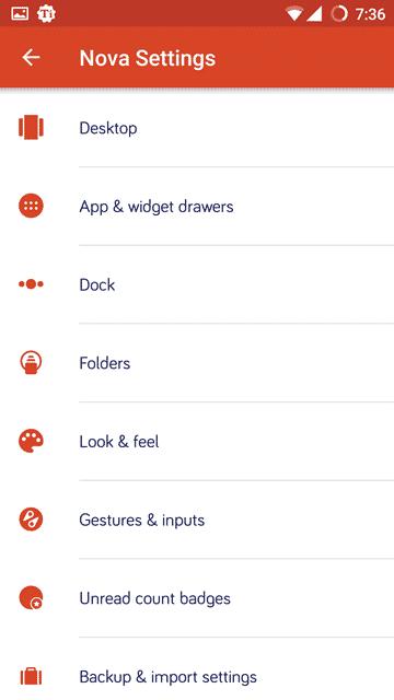 settings - Nova Launcher Prime