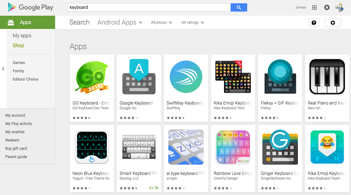 Keyboard Apps on Google Play Store