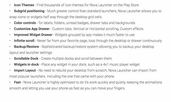 Nova Launcher App Free Features