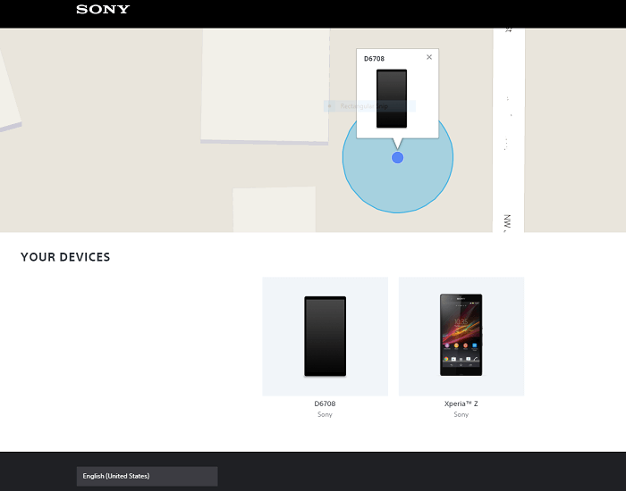 Sony website