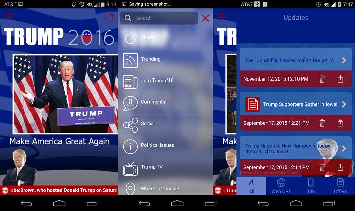 Trump 2016 screens