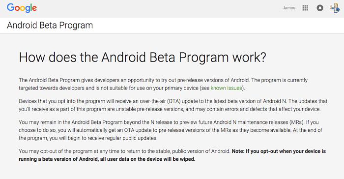 Android Beta Program