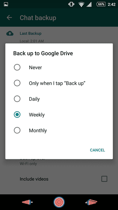 Backup Feature on WhatsApp