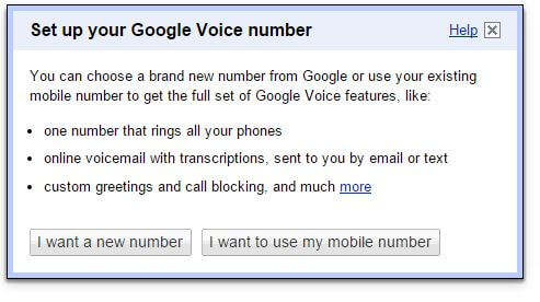 Google Voice Mobile Number Prompt