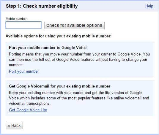 Number eligibility prompt for google voice