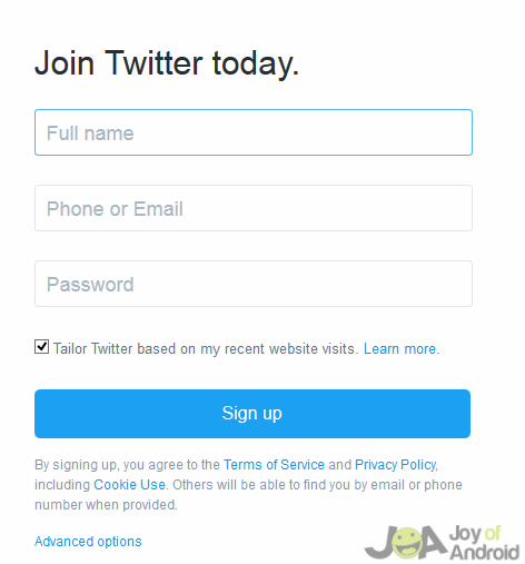 Twitter Sign-up