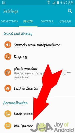 Samsung  wallpaper settings 1