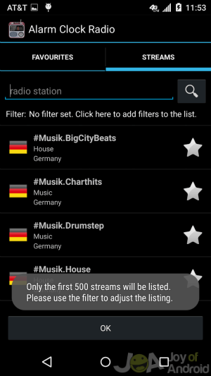 Radio Streams Alarms