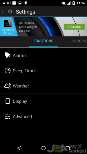 Settings Alarms