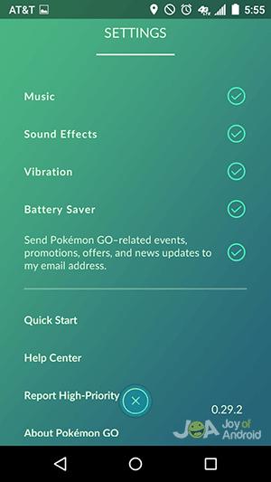 settings - battery life pokemon go