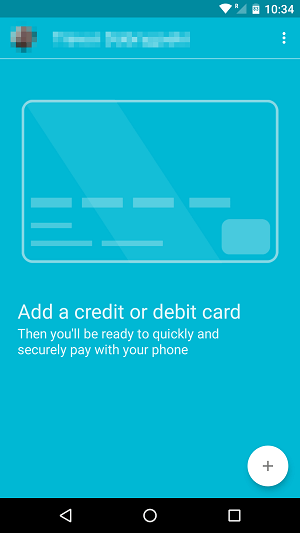 Android Pay Set Up Screen