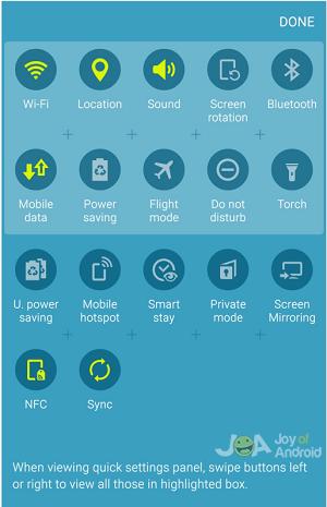 quick settings