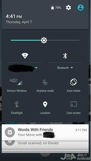notification shade
