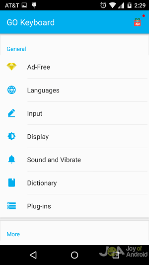 settings go android keyboard