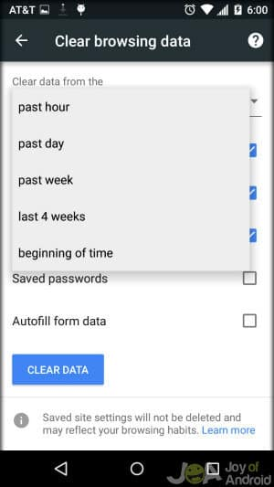 Chrome Browsing Time Clear Android Browsing History