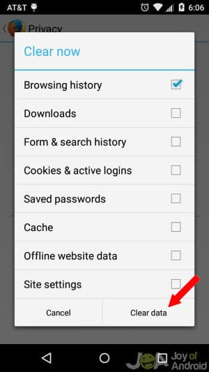 Firefox Clear Data Clear Android Browsing History