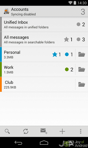 k9 mail folders android email