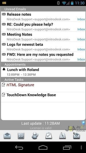 touchdown work email problems