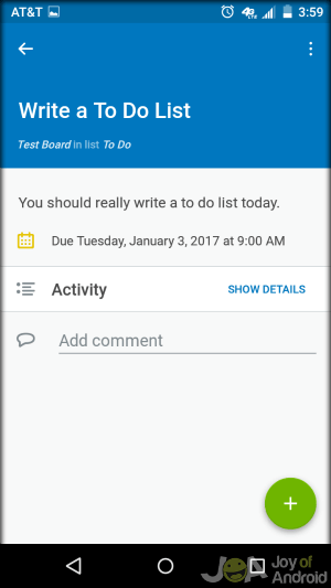 Trello Android Note Taking