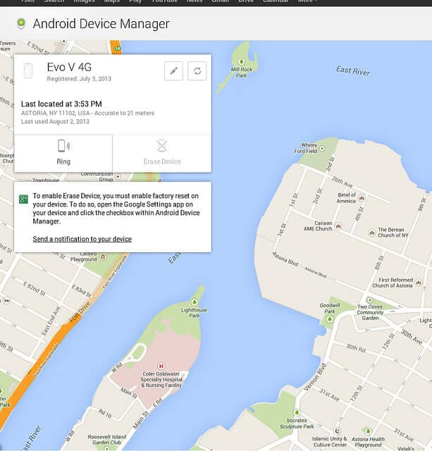 Problems with Android Device Manager