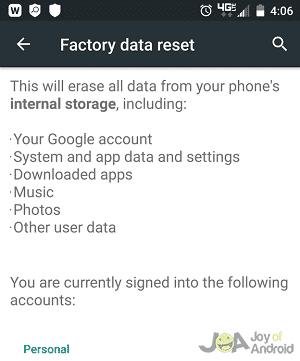 Factory Reseet