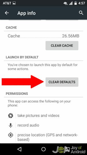 Clear Default App