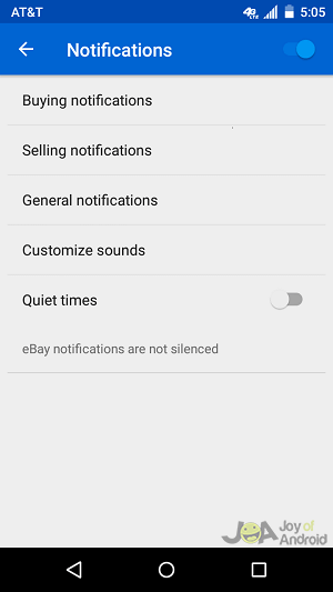 notifications ebay problems