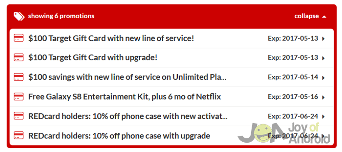 target s8 offers