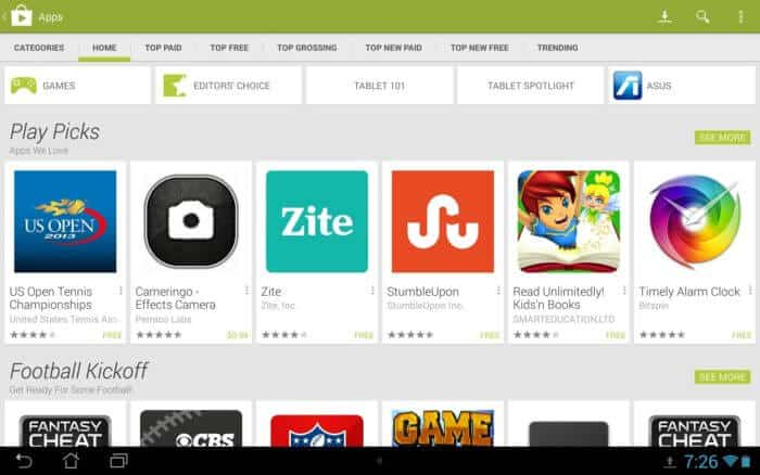 Google Play Store on Tablet