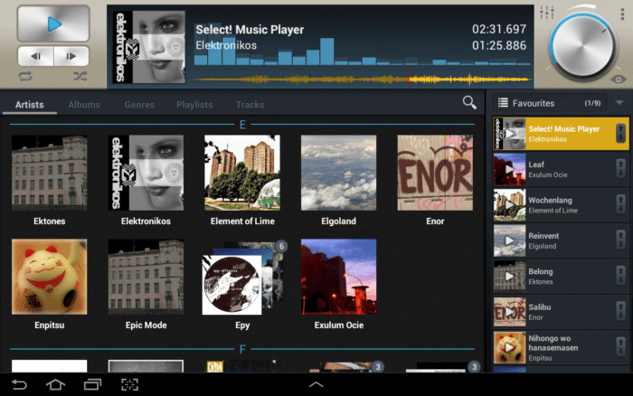 Select music player on tablet
