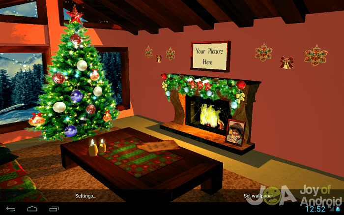 3d fireplace christmas wallpaper