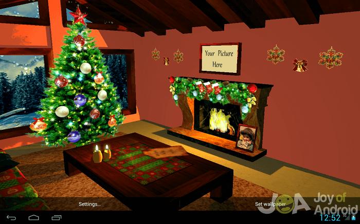 3d fireplace christmas wallpaper
