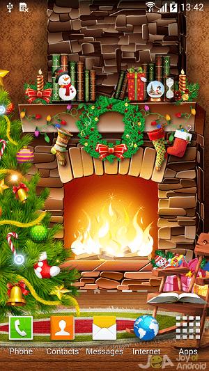 cartoon fireplace christmas wallpapers