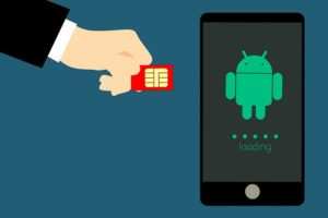 hand sim card red phone android loading blue background