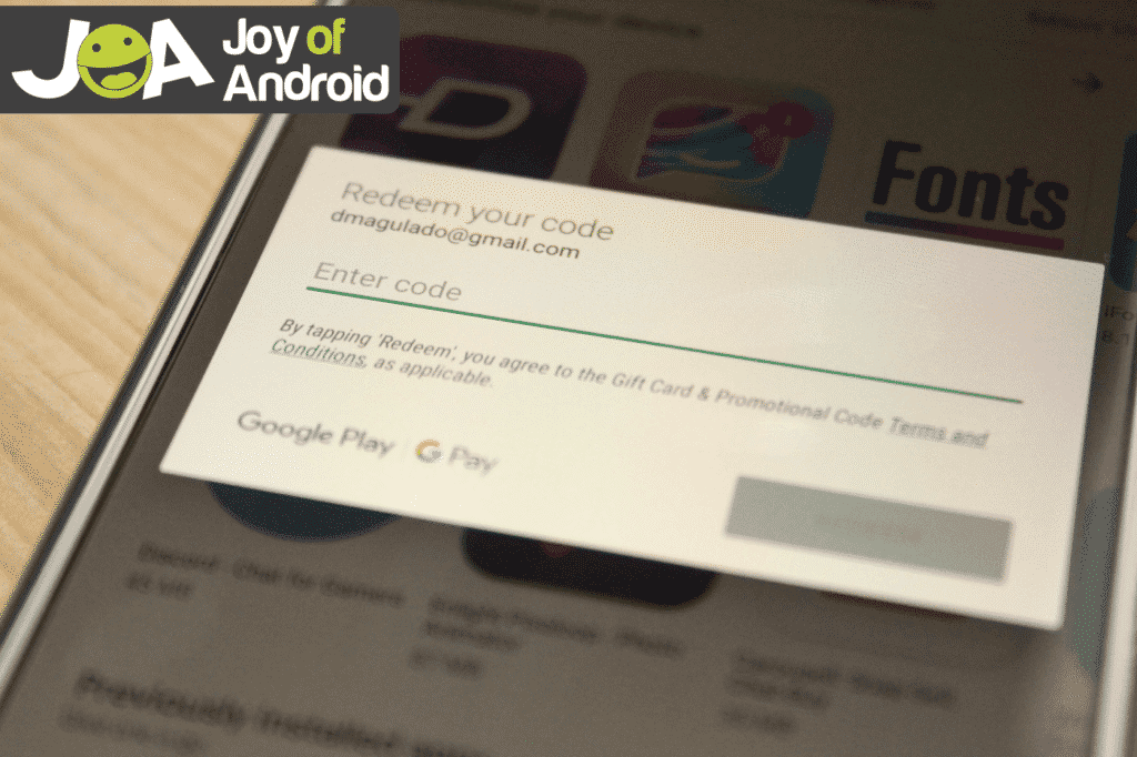 Redeeming Google Play Store Gift Card, Gift code, or Promotional code