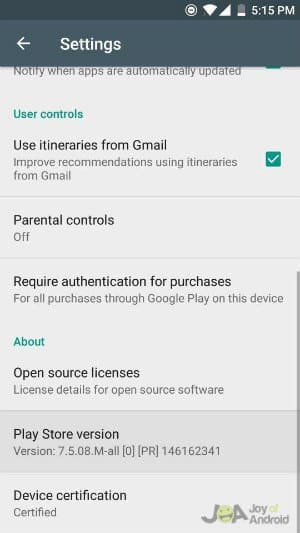 Play Store Version