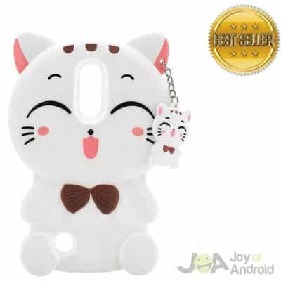 3D Cartoon Lucky Cat Kids Girls Silicone Soft Protector Skin Shell