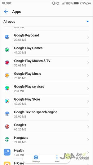 Google Play Services in your App Manager