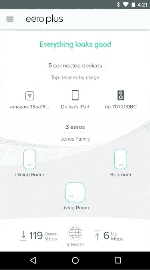 eero Plus App Home Screen