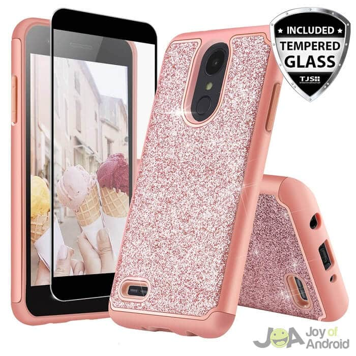 lg aristo 2 phone case with tempered glass screen protector tjs