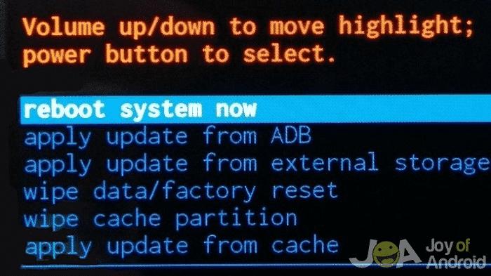 Factory data reset screen
